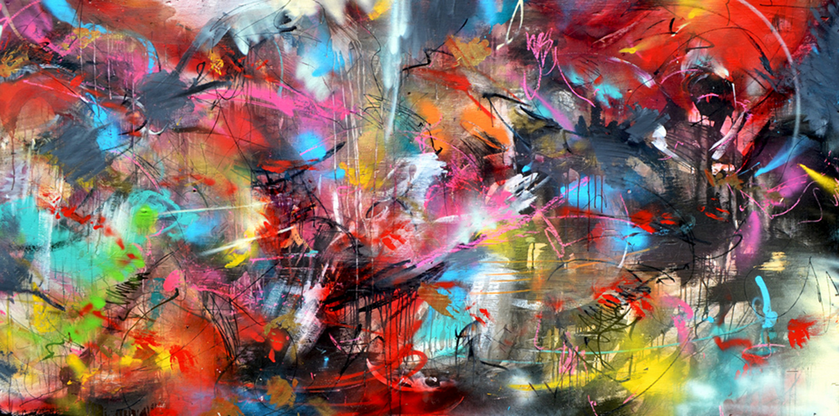Duncan Jago and Poesia Mix media collaborative Painting